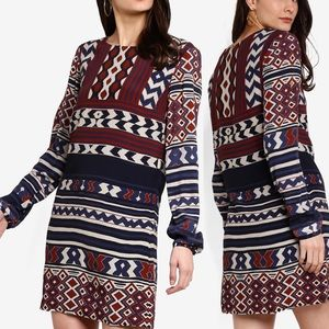 Desigual Marfil Geometric Long Sleeve Dress Sz XL